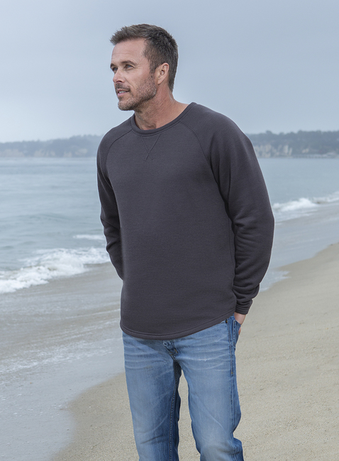 MALIBU COLLECTION® MEN\'S FRENCH TERRY RAGLAN CREW