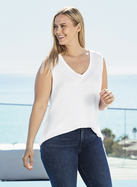 WOMENS PLUS SIZE SLEEVELESS MODAL V-NECK